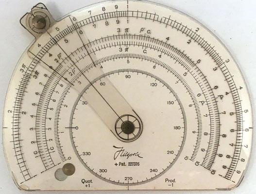 Círculo de cálculo HILTPOLD, patente nº 227376, Zürich (Suiza), año 1945, 10x7.5 cm