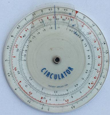 Círculo de cálculo CIRCULATOR, año 1960, Londres, 7,5 cm diámetro