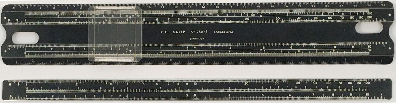 Regla de cálculo SALIP nº 250-3, patente nº 183457 de José Salip Arias, año 1948, aluminio, 28.5x4.5 cm