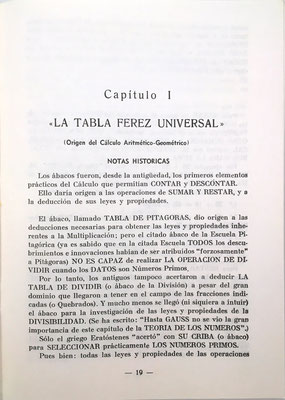 En el capítulo 1, el autor explica el funcionamiento de su Tabla Universal