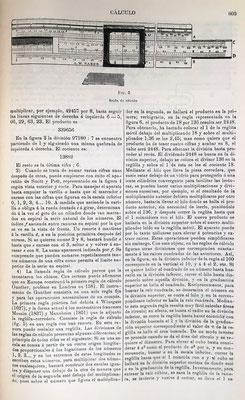Imagen de una regla de cálculo A. W. Faber y perspectiva de la sección con sus componentes