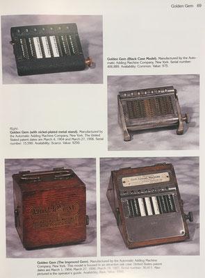 Cuatro ejemplares de ábaco tipo cadena de la marca Golden Gem, principios del siglo XX