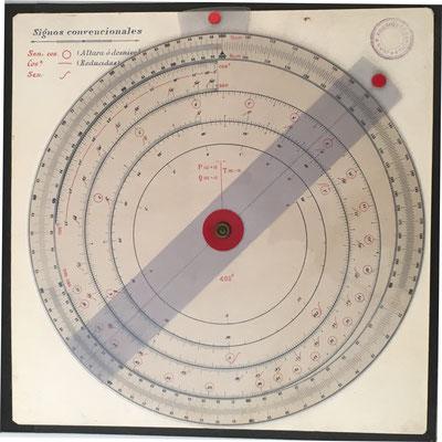 Círculo de cálculo taquimétrico J.M.P. (José María de la Puente López de Heredia, Madrid), patente nº 90.939 del 1 de octubre de 1924, 21 cm diámetro
