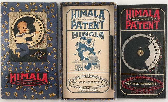 Contenido de la caja de la calculadora HIMALA: calculadora, punzón y folleto