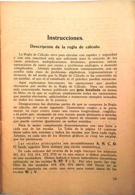 Primera página de las instrucciones de uso de la reglas de cálculo