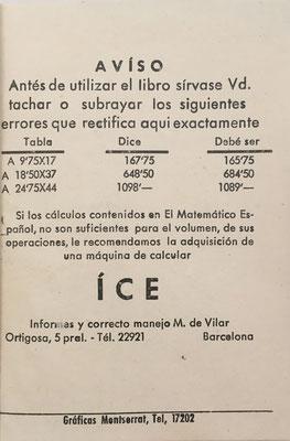Los cálculos del libro EL MATEMÁTICO ESPAÑOL de Cuentas Ajustadas fueron hecho y comprobado con una calculadora mecánica de la marca ICE