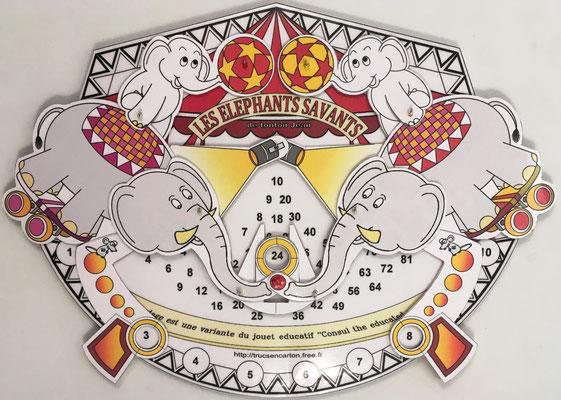 LES ELEPHANTS SAVANTS (Los Elefantes Aprendidos), versión francesa en cartón de CONSUL The Educated Monkey, fabricado por Tonton Jean (alias de Jean Beaubernard), Blanzy, Francia, año 2018, 24.5x20 cm