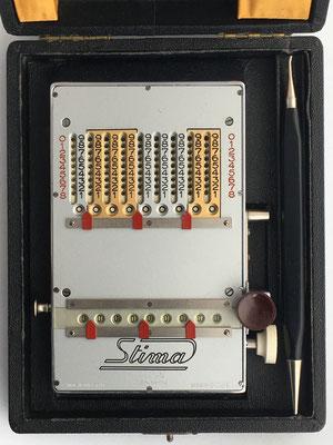 Detalle calculadora STIMA modelo MS-III, s/n 26343, 14x9x2 cm