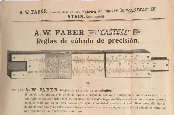 Página del folleto (10 páginas de modelos de reglas utensilios Faber-Castell) correspondiente a la regla