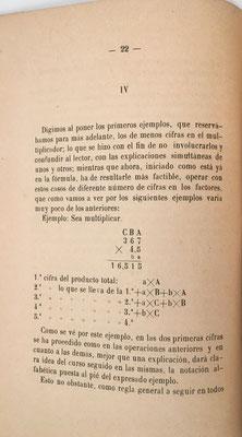 Página 22 del libro: multiplicación de dos factores con diferente número de cifras cada uno