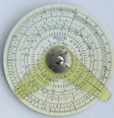 THE BINARY slide rule, hacia 1939, 10 cm diámetro