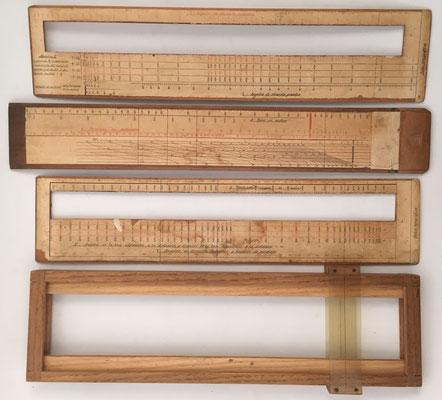 Reverso de las piezas de la regla de cálculo de Artillería