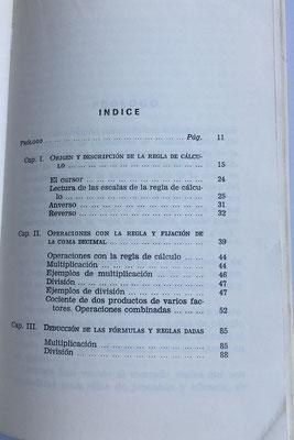 Indice del contenido. Contiene 100 páginas con 1 lámina
