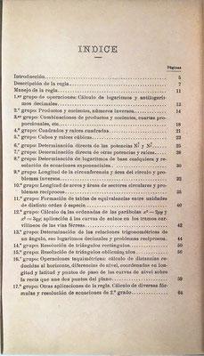 Índice del libro de instrucciones para la regla de cálculo ALCAYDE