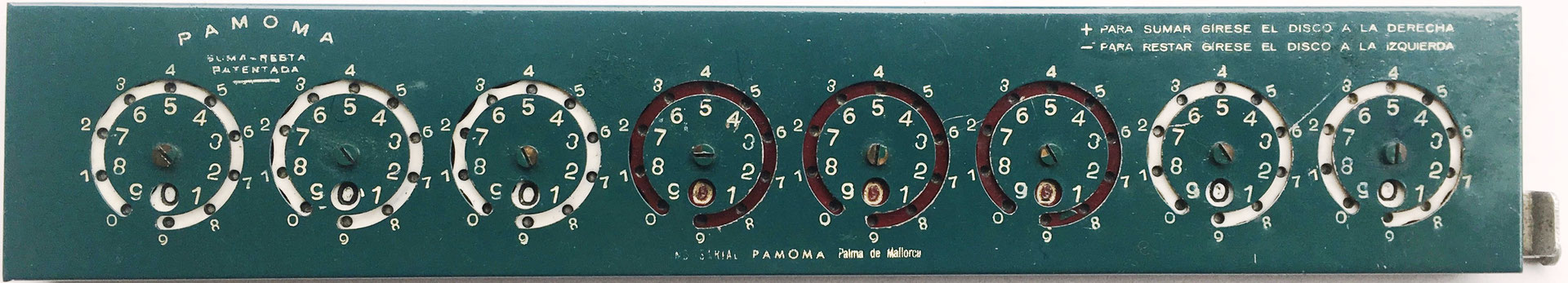 "ADDOMETER-PAMOMA modelo B ""Standar-decimal"", s/n 0022, Palma de Mallorca-ESPAÑA, hacia 1950, 29x6 cm"