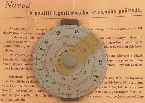 Círculo de cálculo FYSMA, empresa creada por la Unión de Matemáticos y Físicos Checos (JČMF), hecho en Praga, año 1935, 8 cm diámetro