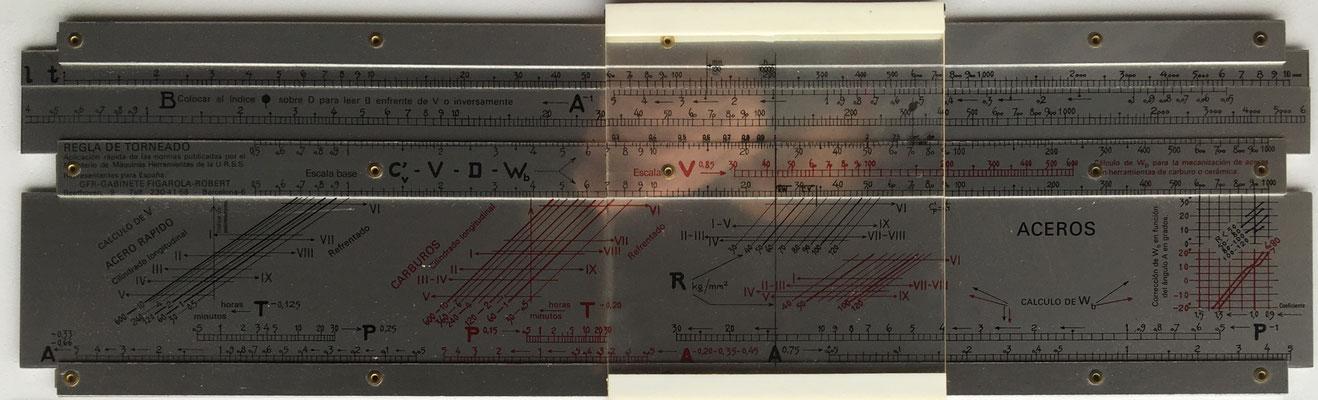 Regla rusa para torneado de acero, comercializada por GFR (GABINETE FIGAROLA-ROBERT) en España, 42x13 cm
