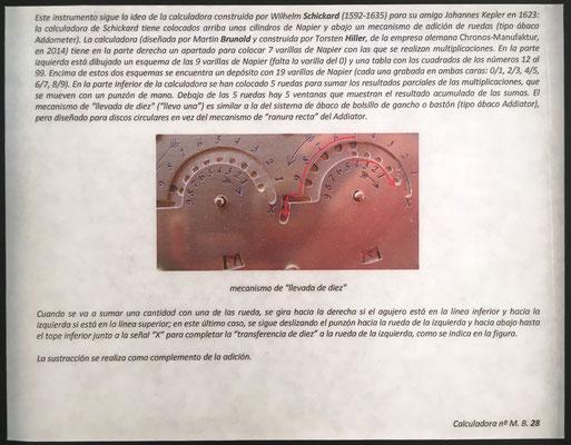 """Instrucciones de uso para """"Following W. Schickard Calculator"""", 26 varillas multiplicativas de 1 cara, ábaco de círculos para sumar productos parciales"""