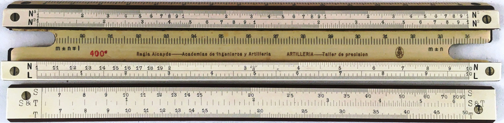 Regla Alcayde para las Academias de Ingenieros y Artillería, encargada su fabricación al Taller de Precisión de Artillería (Madrid), año 1915