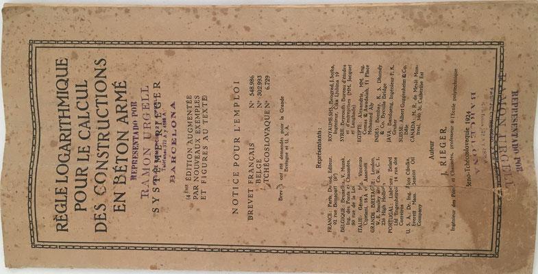Libro de instrucciones de uso, representante en España Ramón Urgell (Barcelona)
