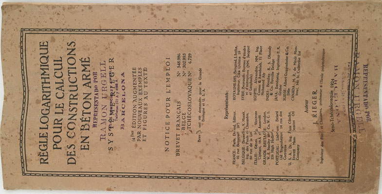 Libro de instrucciones, representante en España Ramón Urgell (Barcelona), año 1924