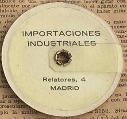 Reverso del círculo de cálculo CIRCUNFERENCIA CALCULADORA, pequeño, obsequio de Importaciones Industriales (Madrid)
