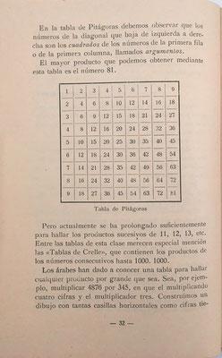 En la página 32 se describe la Tabla de Crelle (productos de números consecutivos hasta 1000x1000) como generalización de la tabla de Pitágoras (productos de números consecutivos hasta 9x9)