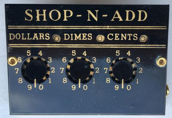 SHOP-N-ADD aparato para contabilidad en la compra, hacia 1930
