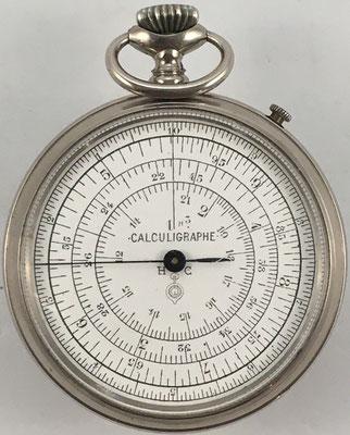 """Cercle a calcul CALCULIGRAPHE H. C. Tipo 3-Thin, año 1878, """"logo"""" debajo de H. C., 5.5 cm diámetro,  (precio estimado: 400€)"""