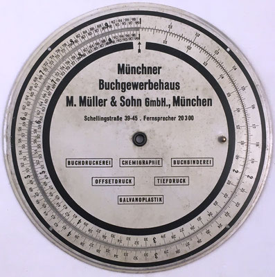 Regla obsequio de la librería MÜNCHNER, M. Müller & Sohn, 19 cm diámetro