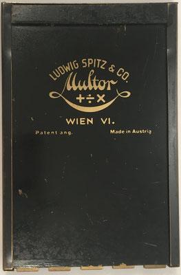 Reverso del aparato combinado MULTIREX-MULTOR: fabricado por Ludwing Spitz & Co, Viena (Austria)