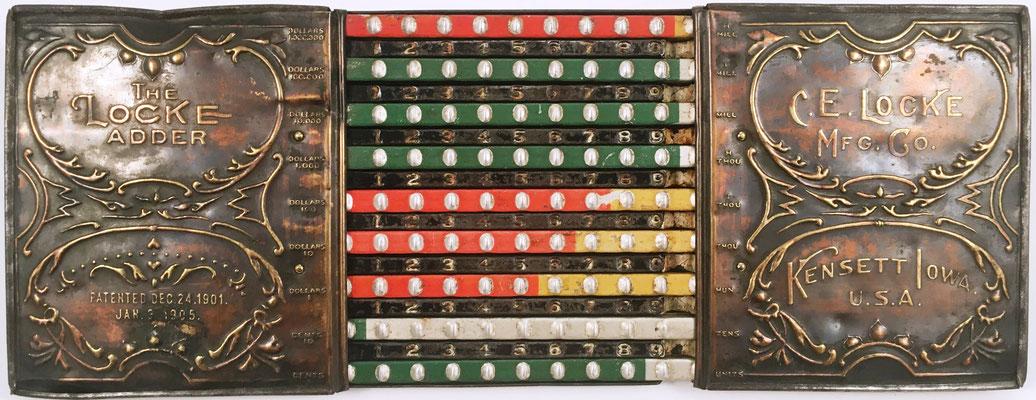 Ábaco de botones THE LOCKE ADDER, patentado y fabricado por Clarence E. Locke Mfg. Co. en Kensett (USA), año 1905, 27x10 cm
