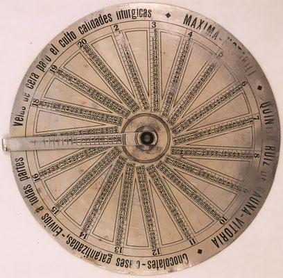 "Anverso: Disco Pitagórico ""MAXIMA NOTABILI"", Quintín Ruiz de Gauna, Vitoria, hacia 1930, 15 cm diámetro"