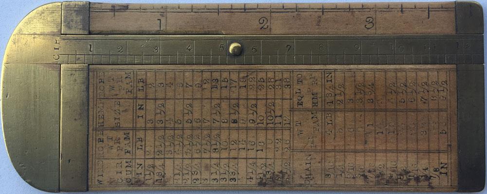 Calibrador o Pie de Rey RABONE, latón y madera de boj, fabricado por John Rabone & Sons, Birmingham (Inglaterra), con medidas en pulgadas, siglo XIX , 11.5x4.5 cm,  (precio estimado: 100€)