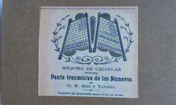"Caja con dibujo original de la ""Pauta Transmisiva de los Números"", R. Mas Talleda 1904"