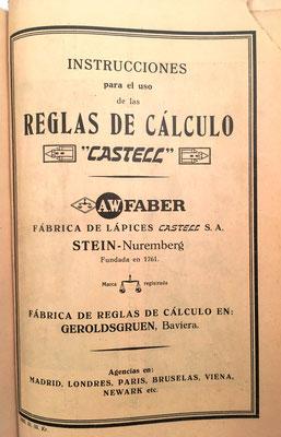 El folleto está editado en español por A. W. Faber-Castell, que tenía agencia en Madrid