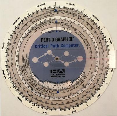 PERT-O-GRAPH II, para el cálculo del camino crítico CPM (determinístico) y PERT (aleatorio), plástico, año 1968, 16 cm diámetro