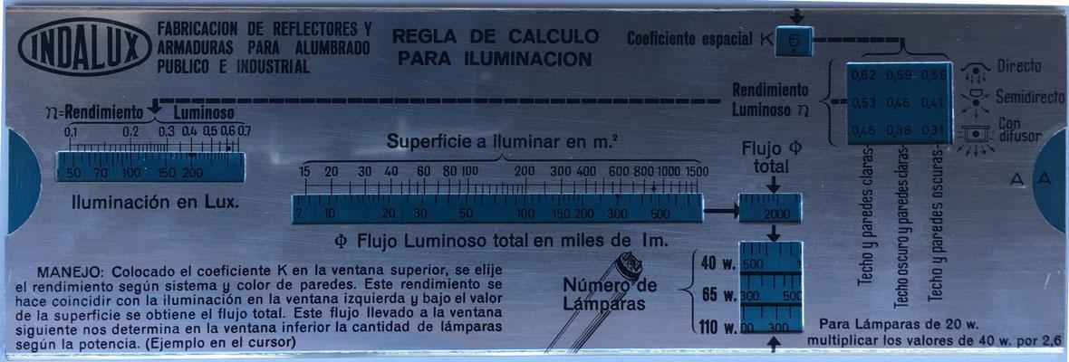 INDALUX regla de cálculo para iluminación, hecha por INDAL, Valladolid (España), 18x6 cm