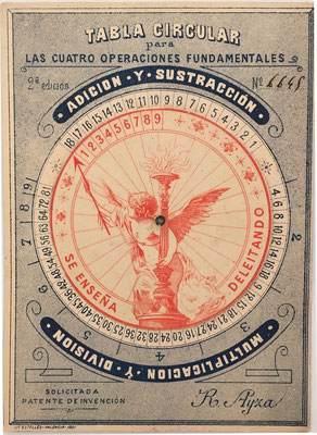 TABLA CIRCULAR para las 4 operaciones fundamentales, s/n 6645, hecho por Román Ayza (Valencia) en 1901, 10x14 cm