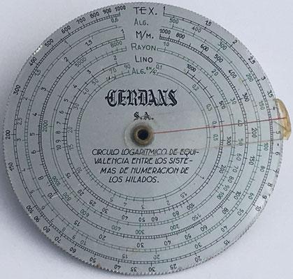 Reverso: regla Cerdans para sistemas de numeración de los hilados, hacia 1940