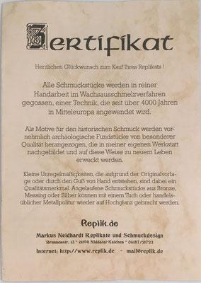 Certificado: Markus Neidhardt Replikate und Schmuckdesing, Niddatal-Kaichen (Alemania)