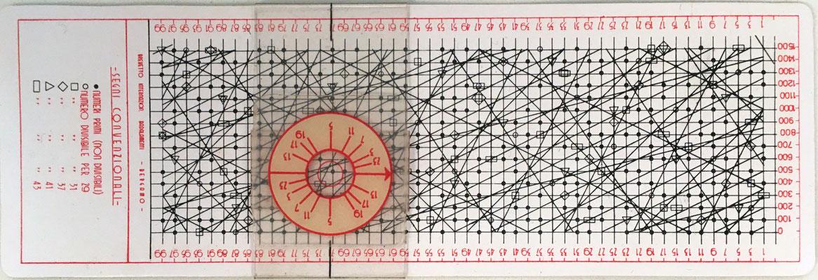 Regla de la DIVISIVILITÁ, uso educativo para descomponer un número en sus factores primos, Bergamo (Italia), año 1957, 16x5.5 cm
