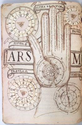 En esencia Ramón Llull pretendía, a partir de unos pocos axiomas y por medio de un procedimiento combinatorio, ordenado y lógico, implementado en su máquina Ars Magna (un rudimentario autómata finito), demostrar la existencia de Dios