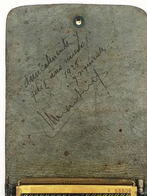 Anotación en el interior de la funda del ábaco de ranuras FRANCIA, con dedicatoria del año 1925