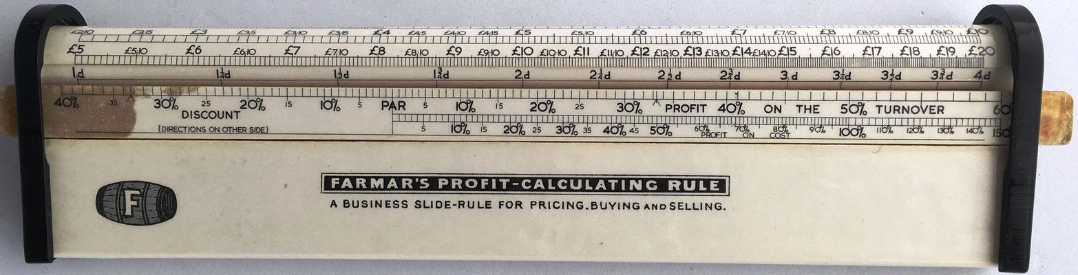 Regla de cálculo cilíndrica FARMAR'S Profit-Calculating Rule (combinada con una regla lineal), Kent (England), patente EEUU nº 1.123.507 del 5 de enero de 1915 por Theodore  FARMAR  (Kent, Inglaterra), 24x6 cm