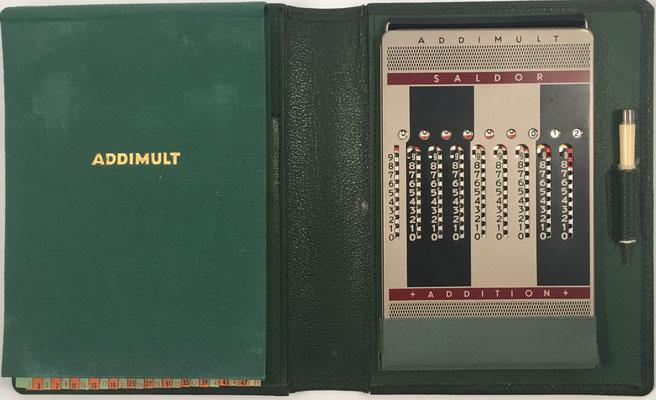 Ábaco de ranuras ADDIMULT SALDOR, fabricado por Addimult, s/n 846897, año 1955, 10.5x17.5 cm