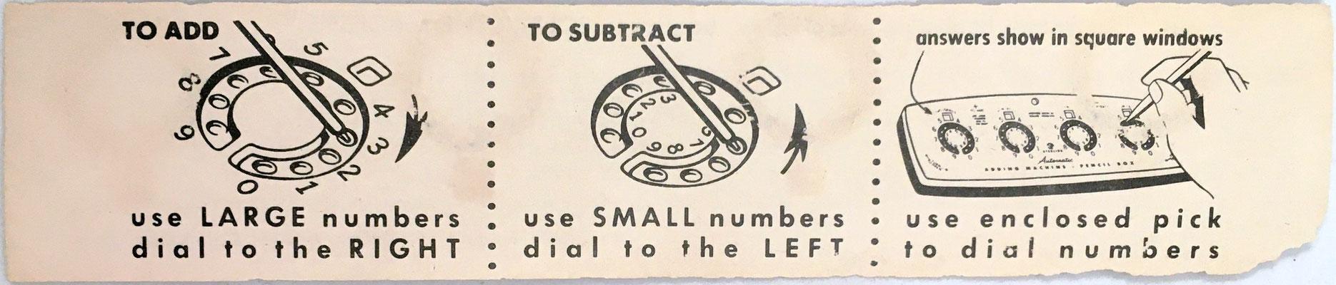 Instrucciones de uso para el DIAL-A-MATIC Adding Machine de la tapa del estuche, anverso