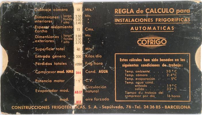 Regla técnica COFRIGO, para instalaciones frigoríficas automáticas, reverso