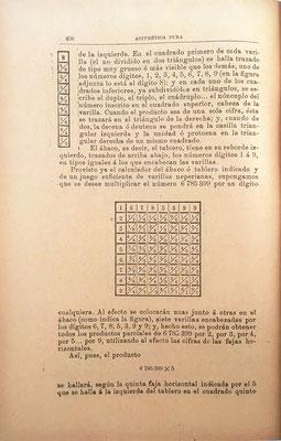 Presenta, asimismo, el ábaco Rabdiológico o Neperiano, compuesto de tablero (con el índice a su izquierda) y varillas