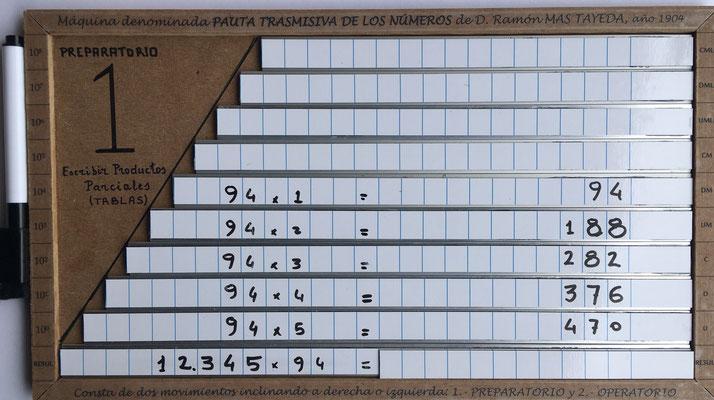 Posición 1, movimiento Preparatorio: introducir los productos parciales correspondientes desde las tablas